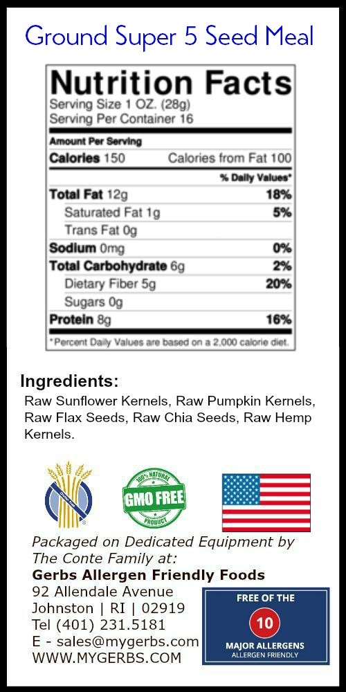 Nutrition Facts Super 5 Seed Meal