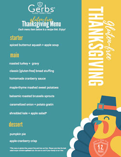 Gerbs Gluten free Thanksgiving Menu