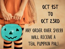 FREE TEAL PUMPKIN PAIL WITH ANY $49.99 order!