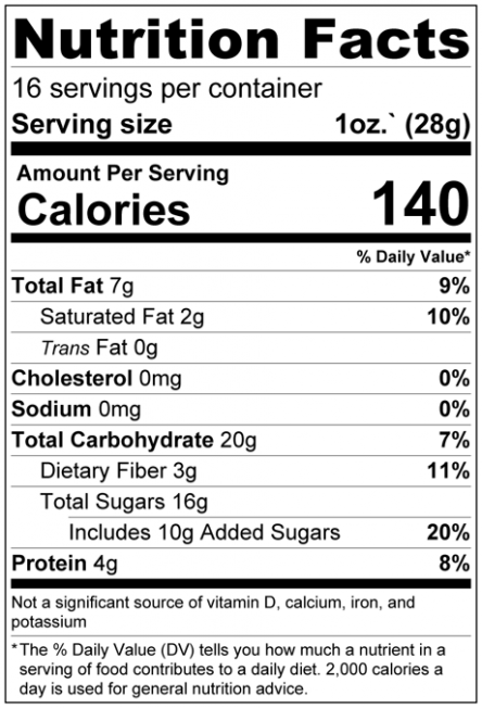 Dark Chocolate Chips - Jumbo Size (68% Cacao) Nutrition Facts