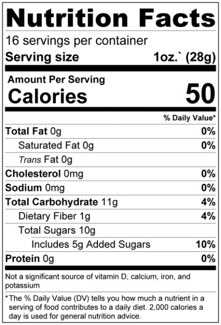 Dried Cape Cod Blueberries Nutrition Facts