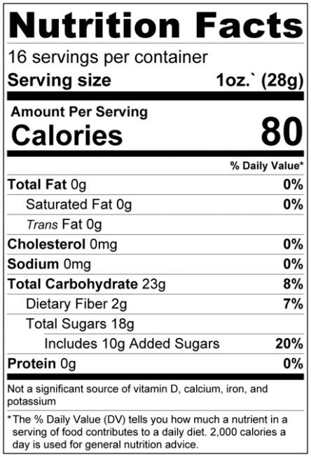 Dried Cape Cod Cranberries Nutrition Facts