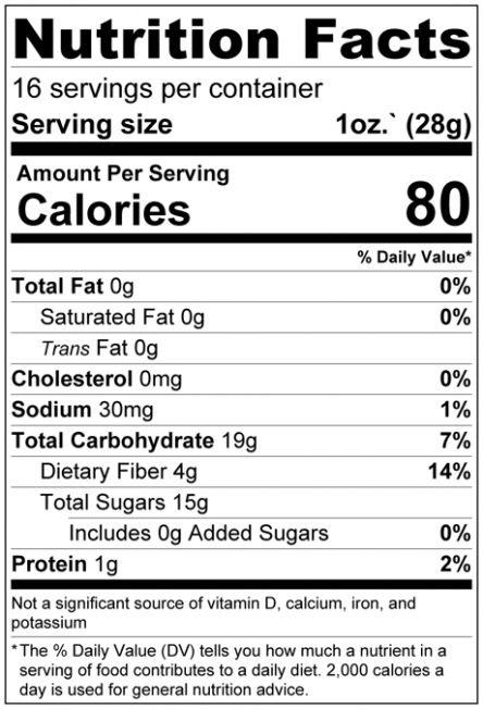 Figs - No Added Sugar Nutrition Facts
