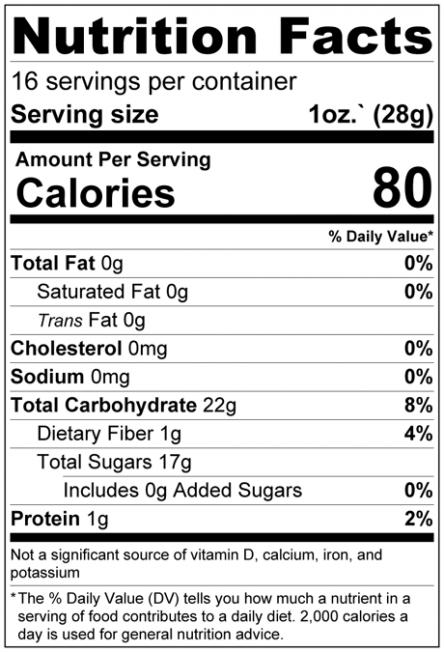 Raisins - No Added Sugar Nutrition Facts