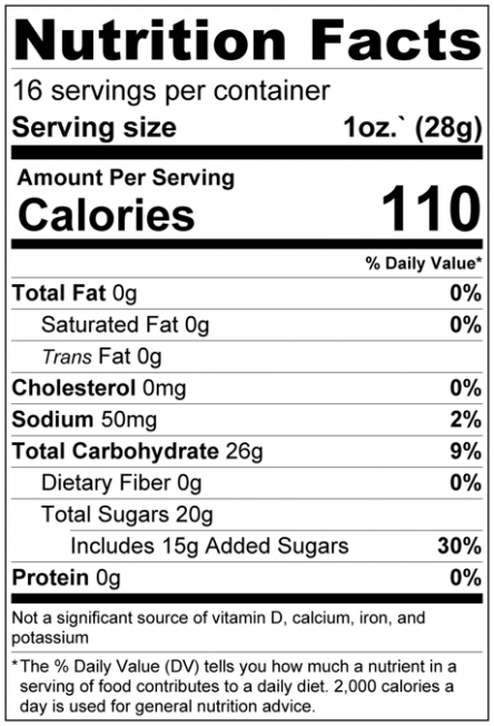 Dried Chopped Mango Cubes Nutrition Facts