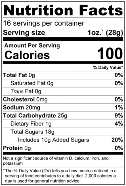 Dried Chopped Pineapple Cubes Nutrition Facts