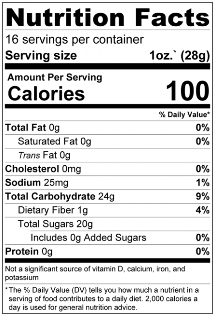Dried Mango Slices No Added Sugar Nutrition Facts