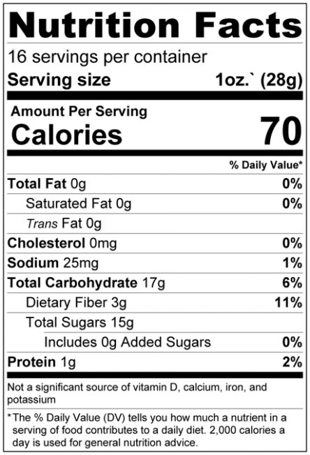 Dried Papaya Slices No Added Sugar Nutrition Facts