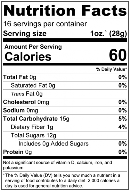 Dried Pineapple Chunks No Added Sugar Nutrition Facts