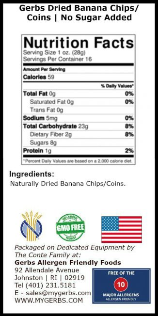 Banana Chips (Soft Slices) - No Sugar Added Nutrition Facts