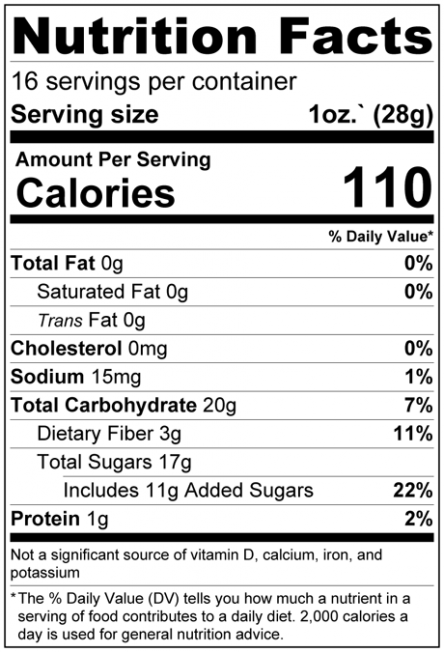 Super 5 Dried Fruit Mix Nutrition Facts