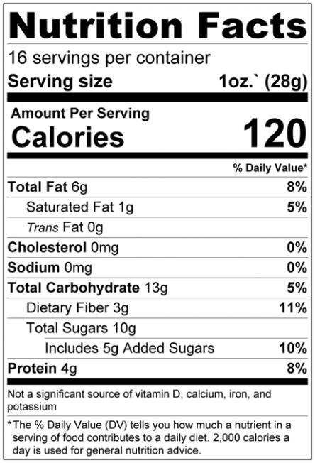 Banana Dark Chocolate Chip Granola Nutrition Facts