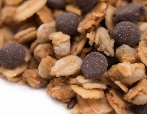 Dark Chocolate Chip Granola Close up