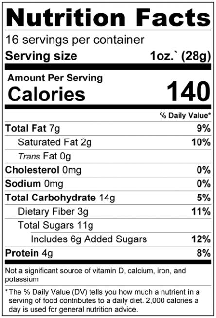 Dark Chocolate Chip Granola Nutrition Facts