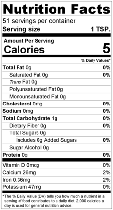 Oregano Flakes Nutrition Facts