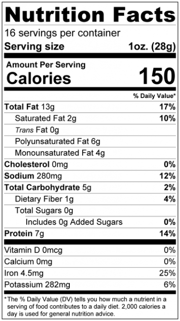 Sea Salted Dry Roasted Pumpkin Seed Kernels - Shelled Pepitas Nutrition Facts