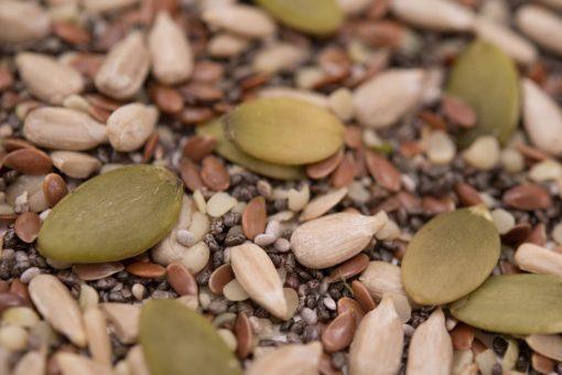 Pumpkin - Sunflower - Chia - Flax - Hemp Seed   Raw Mix Close up