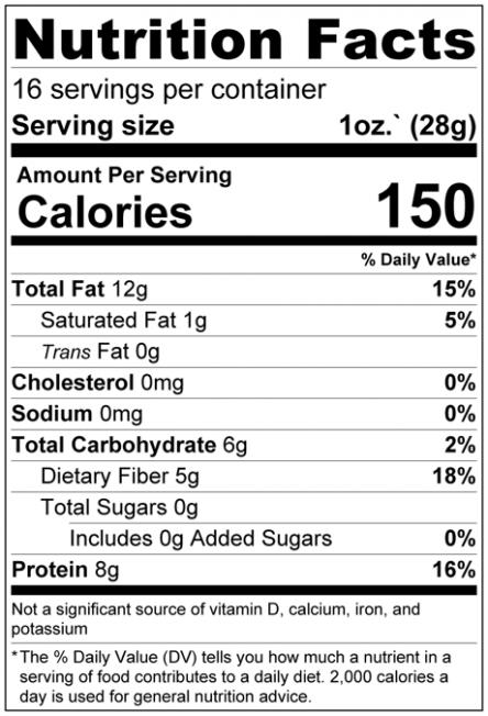 Pumpkin - Sunflower - Chia - Flax - Hemp Seed   Raw Mix Nutrition Facts