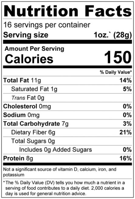 Chia & Hemp Seed Raw Mix Nutrition Facts