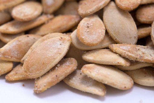 Sea Salted Dry Roasted In Shell Pumpkin Seeds - Whole Pepitas Close up