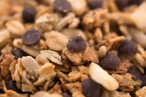 Banana Dark Chocolate Chip Granola Close up