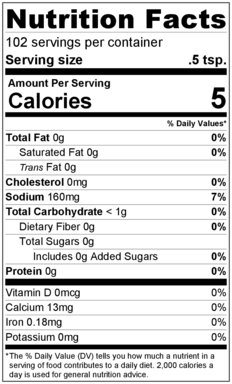 Cajun Style Seasoning Mix Nutrition Facts