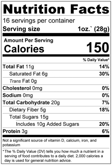 Dark Chocolate Cacao Nibs (55%) Nutrition Facts