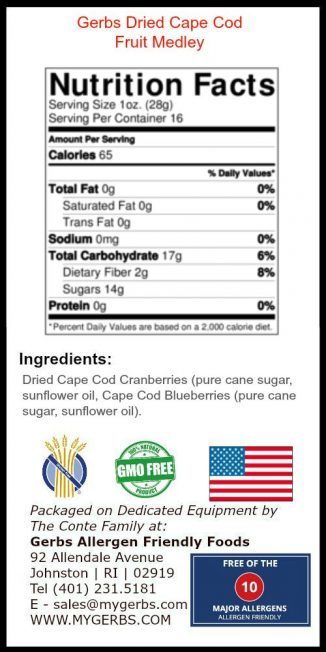 Dried Blueberry & Cranberry Fruit Mix Nutrition Facts