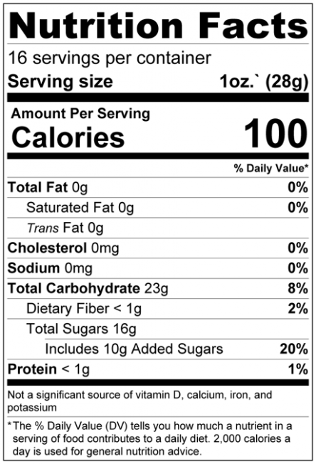 Dried Cherries - Sweetened Nutrition Facts
