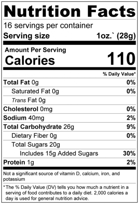 Dried Chopped Papaya Cubes Nutrition Facts
