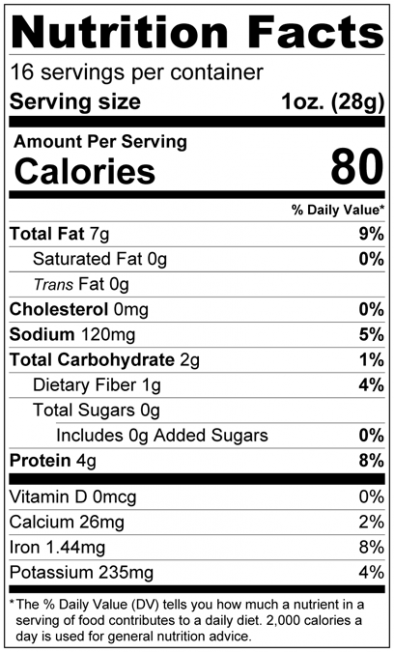 Habanero Roasted Sunflower Seeds - In Shell Nutrition Facts
