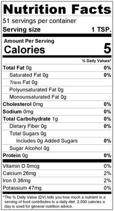 Oregano Flakes Nutrition Facts