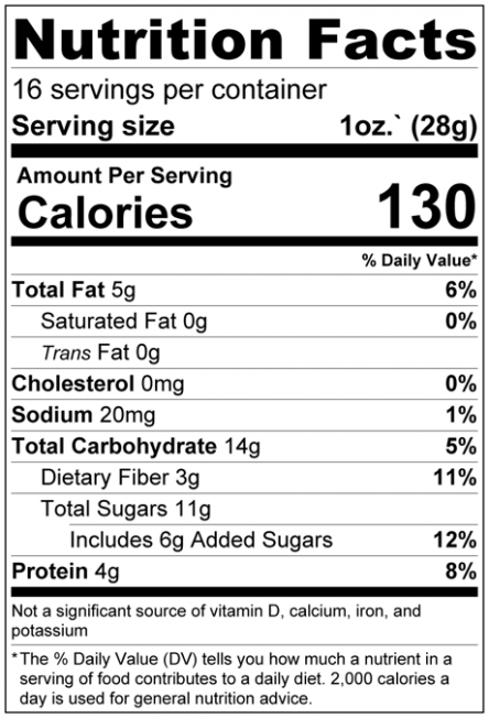 Super Fruits Granola Nutrition Facts