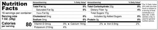 Jumbo California Raisins Nutition Facts