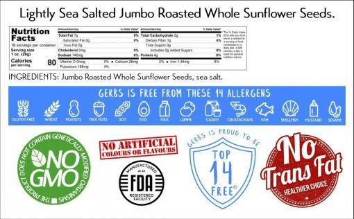 Jumbo Lightly Sea Salted Sunflower Seeds - In Shell nutrition facts