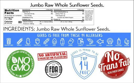 Jumbo Raw Sunflower Seeds - In Shell nutrition facts