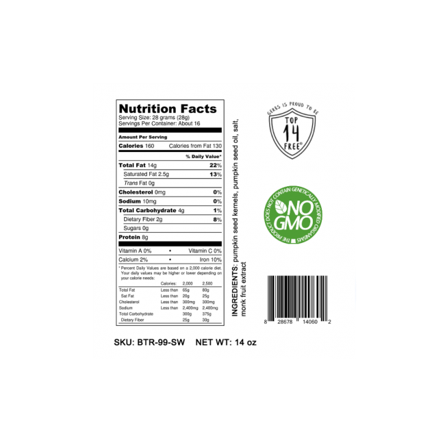 SWEETENED (MONK FRUIT) PUMPKIN SEED BUTTER Nutrition Facts