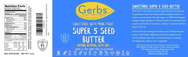 SWEETENED (MONK FRUIT) SUPER 5 SEED BUTTER detail