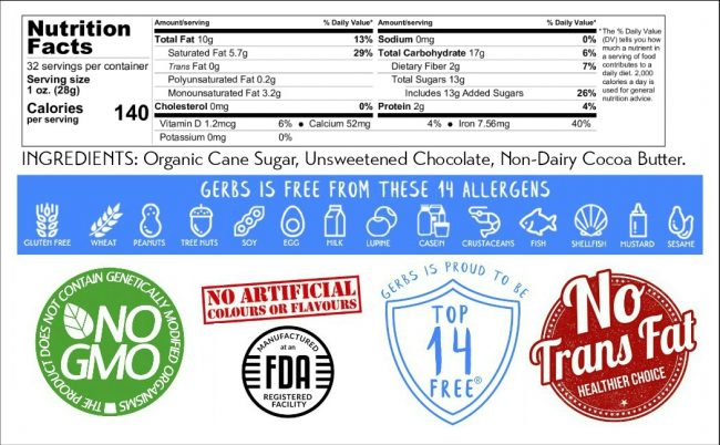 Dark Chocolate Chips – Miniatures (Semi Sweet Cacao) Nutrition Facts